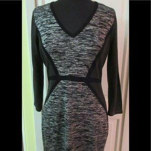 Calvin Klein sweater dress multi pattern v neck L